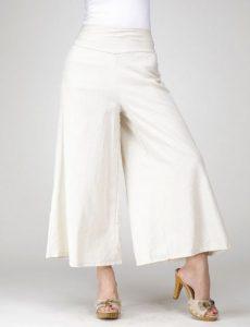 Pantalones de lino de piernas y cintura ancha con lazo posterior 2